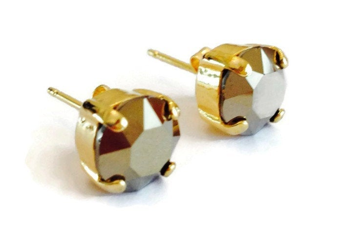 Gold Crystal Stud Earrings