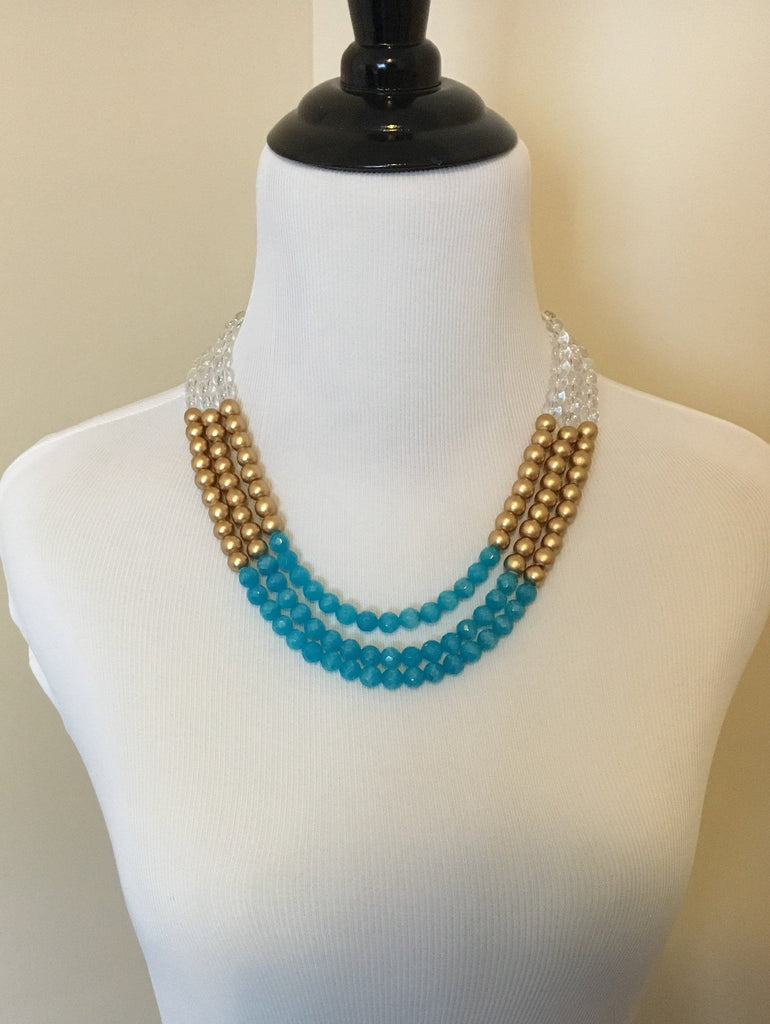 Aqua and Gold Statement Necklace