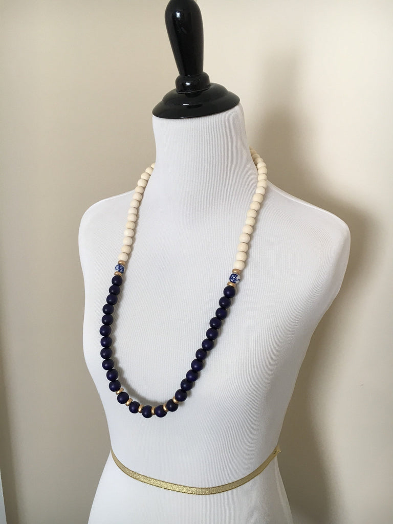 Navy Blue and White Long Beaded Necklace