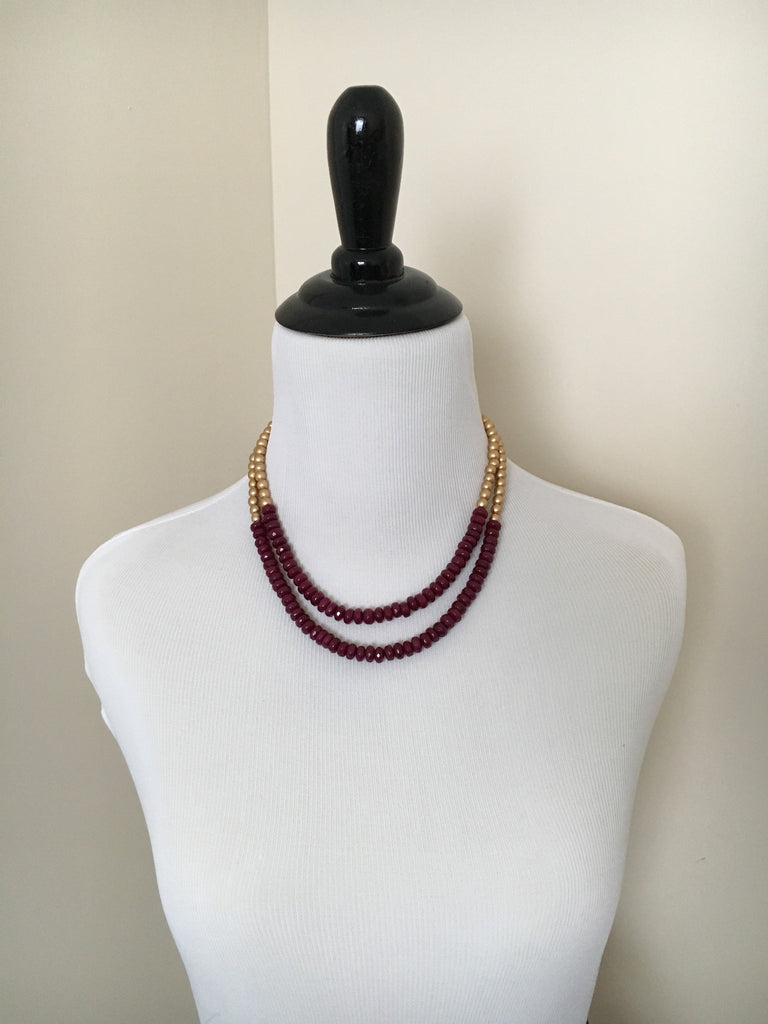 Deep Pink Jade Statement Necklace