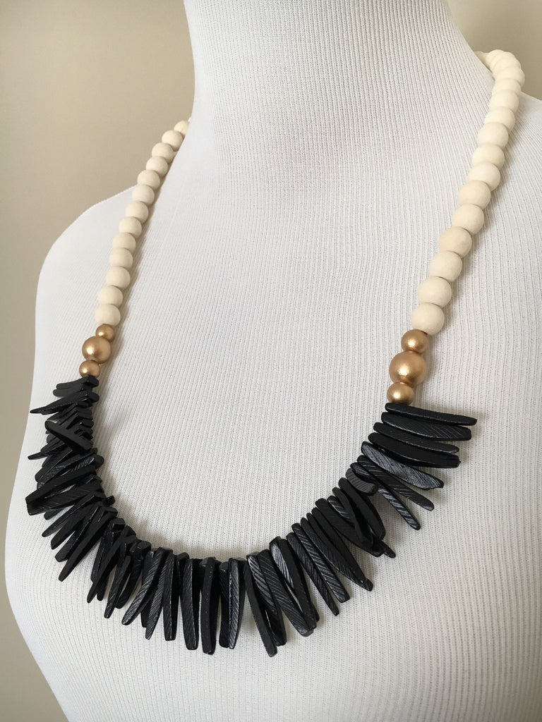 Long Wooden Spike Statement Necklace