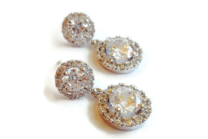 The Katie Earring with Round Halo Stud