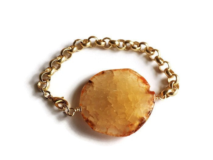 Yellow Agate and Gold Chunky Chain Bracelet