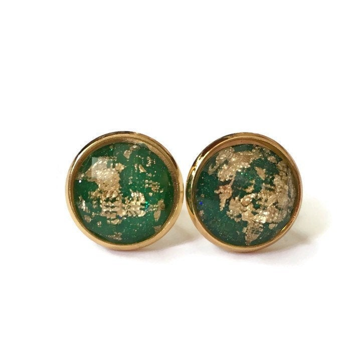 Emerald Green and Gold Leaf Stud Earrings