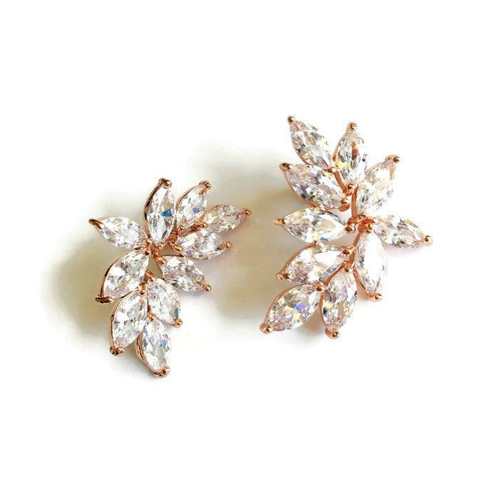 Rose Gold Marquise Stud Earrings