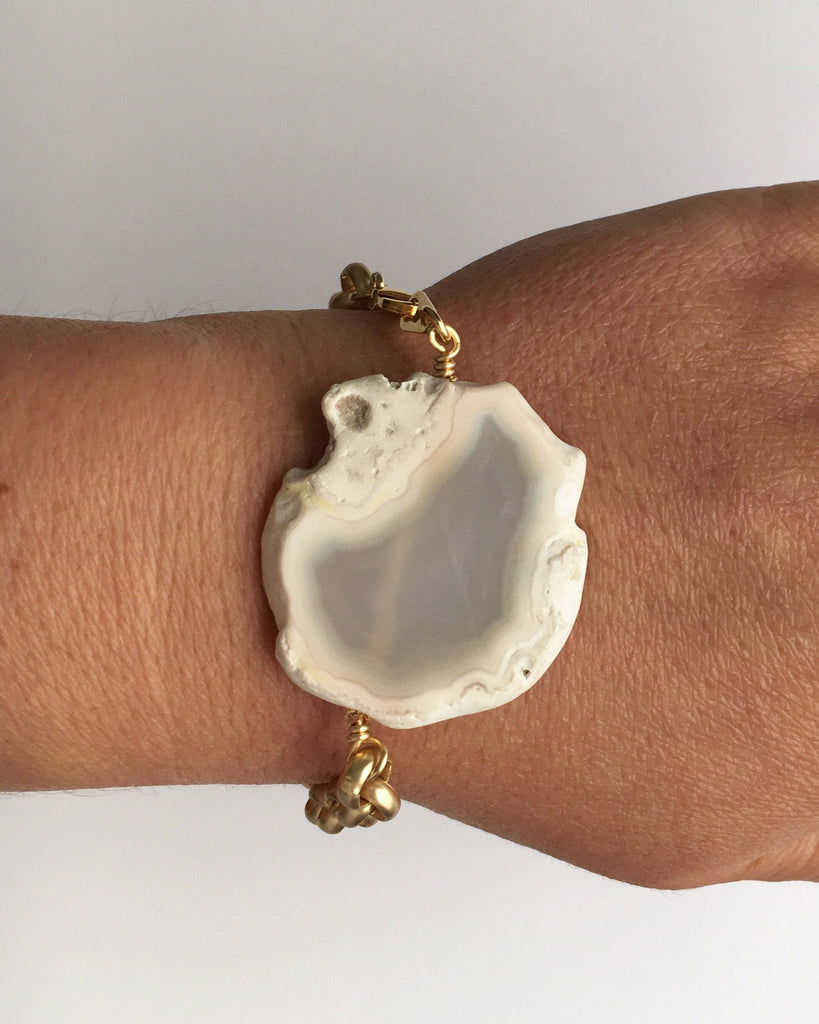 White Agate and Gold Chain Bracelet