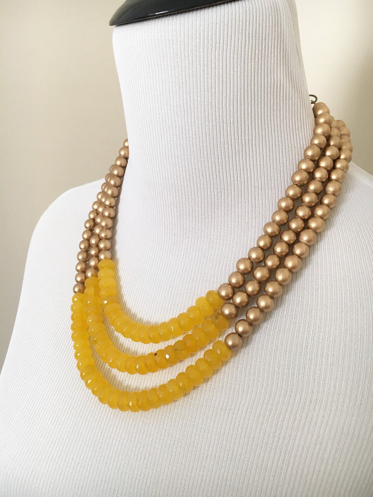 Yellow Jade and Gold Statement Necklace Gold