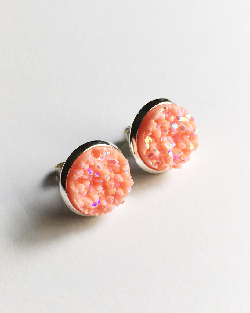 Peach Druzy Stud Earrings