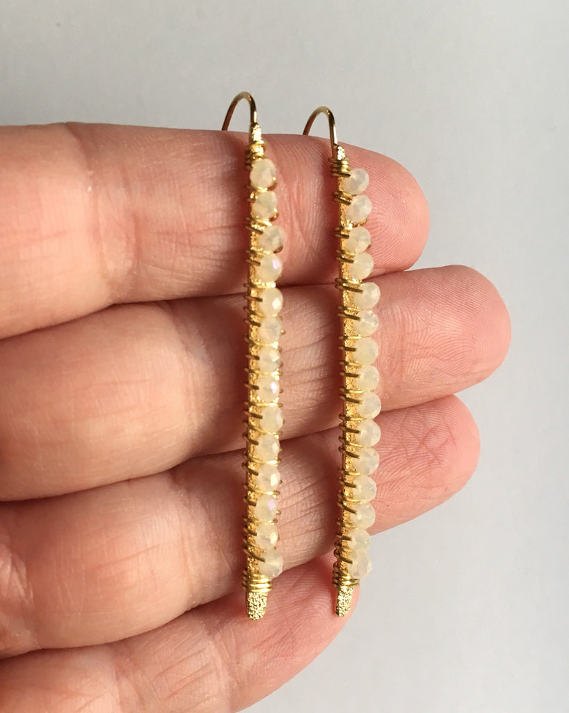 White and Gold Threader Earrings