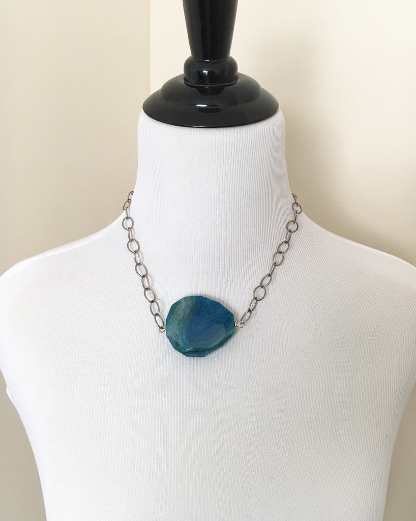 Teal Turquoise Agate Statement Necklace