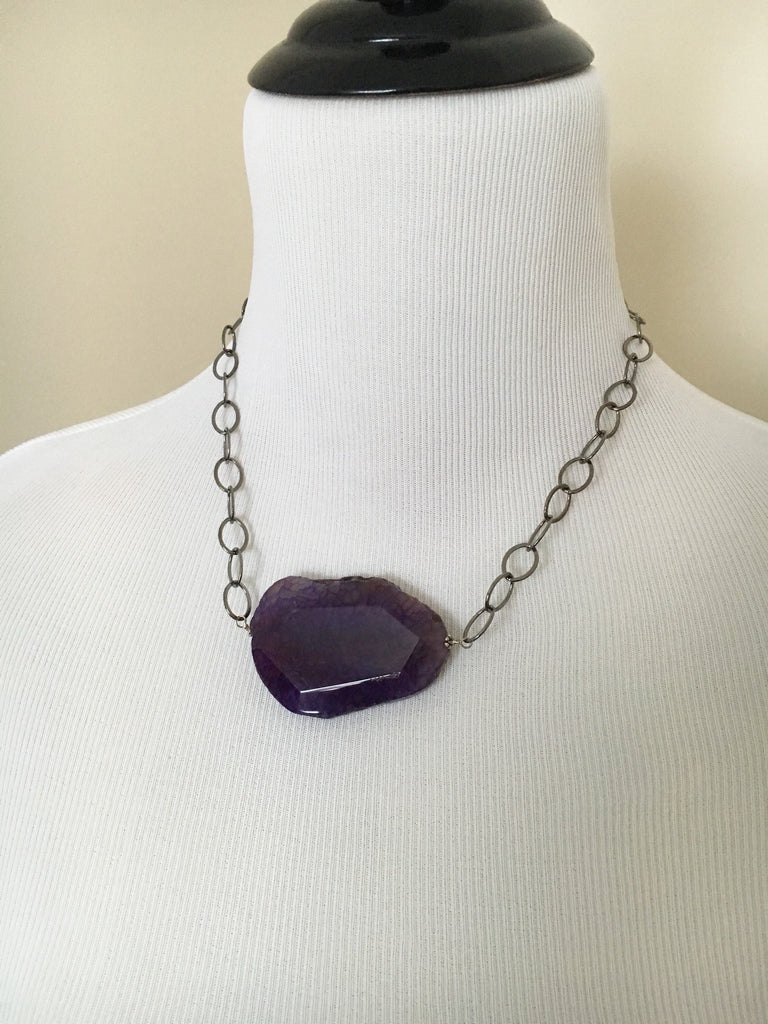 Purple Pendant Statement Necklace