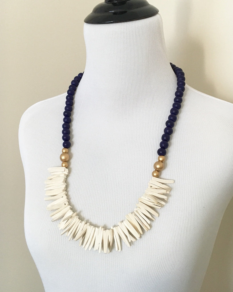 Navy Blue and White Long Statement Necklace