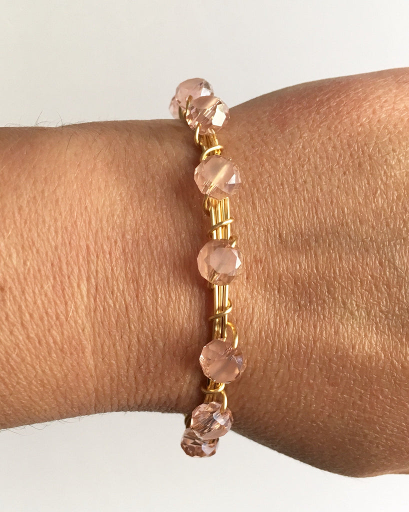 Pink Beaded Wire Wrapped Bracelet