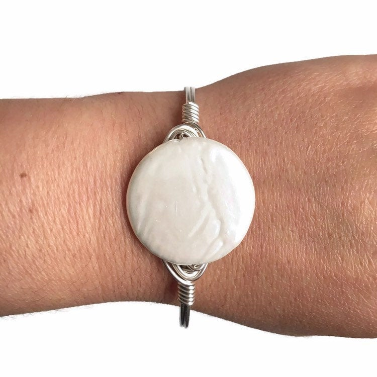 Coin Pearl Bangle Bracelet
