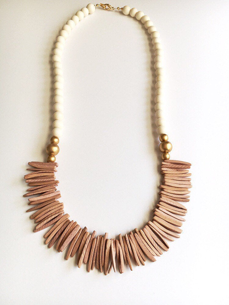 Mauve Pink Wooden Statement Necklace