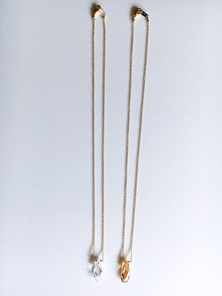 Clear and Champagne Teardrop Gold Necklaces