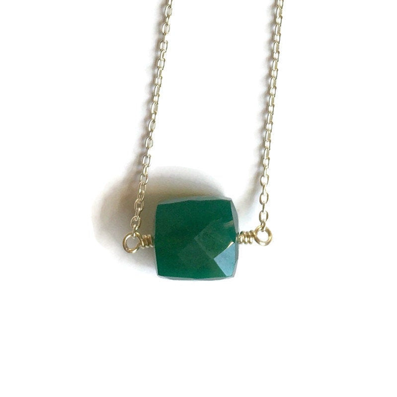 Emerald Green Pendant Sterling Silver Necklace