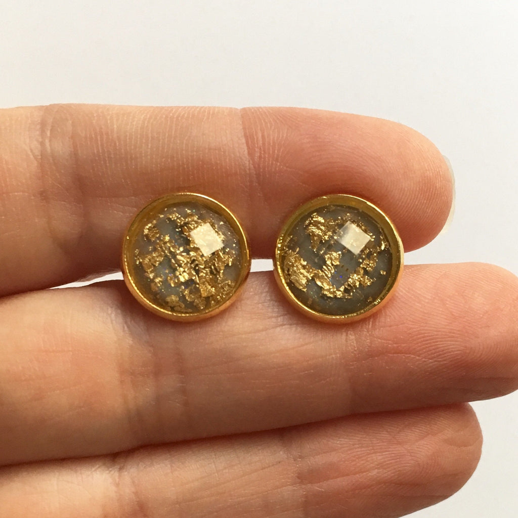 Large Gray and Gold Leaf Earrings