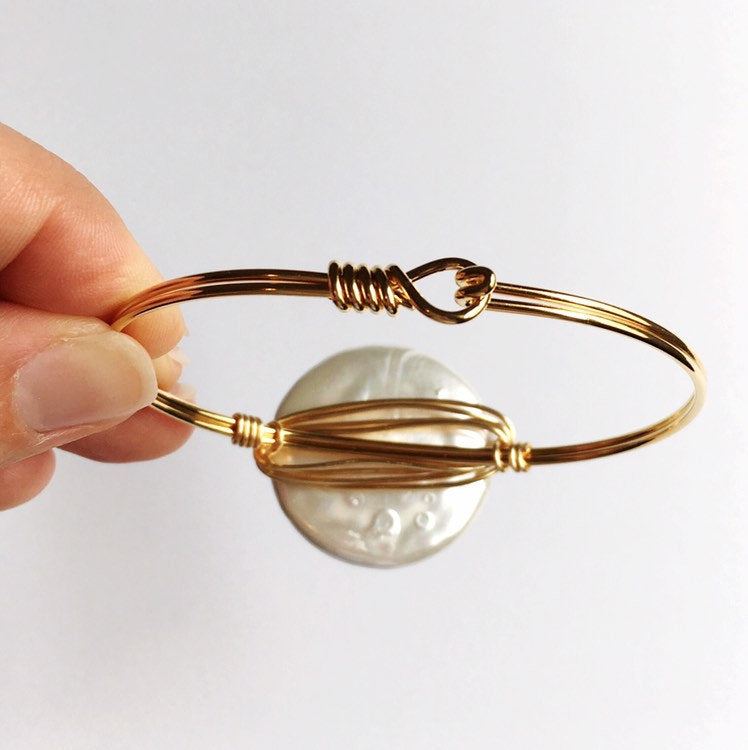 Coin Pearl and Gold Bangle Bracelets for Women