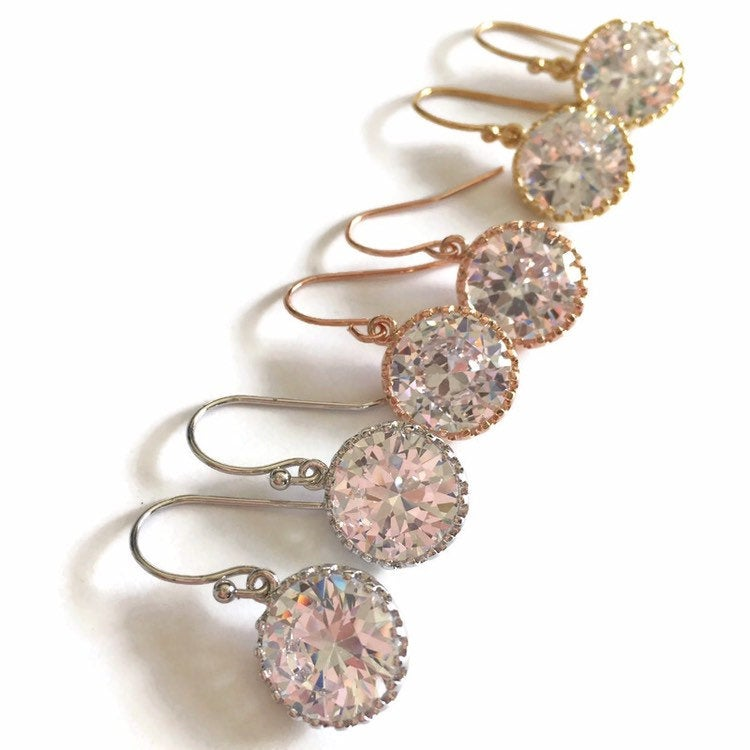 Round Cubic Zirconia Dangle Earrings
