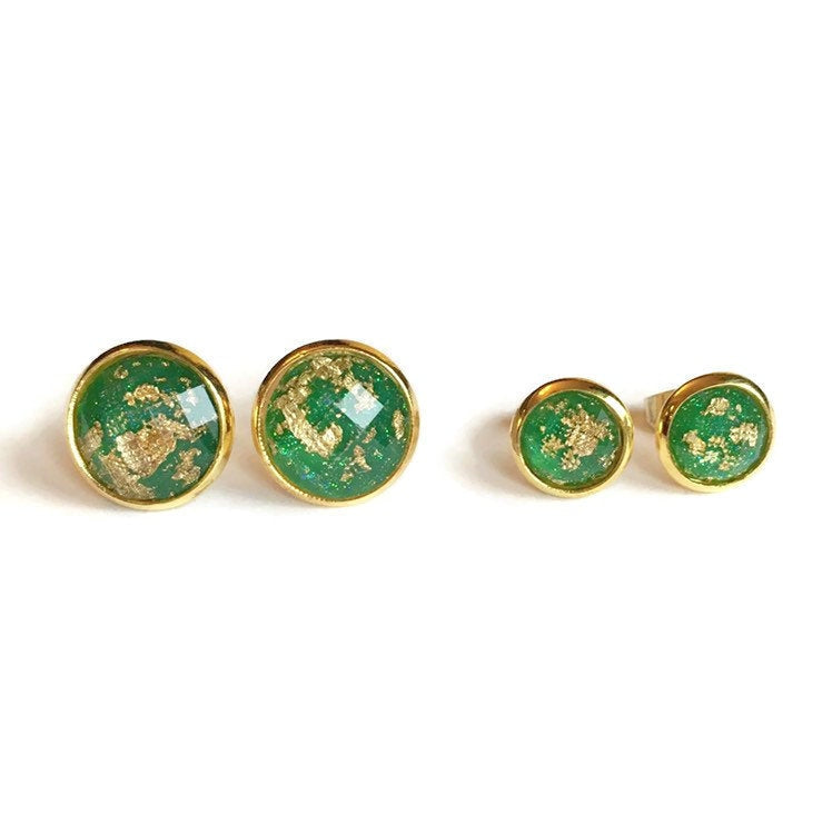 Mommy and Me Emerald Green and Gold Stud Earrings