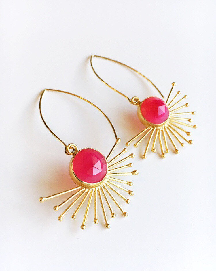Pink Chalcedony and Gold Sun Dangle Earrings