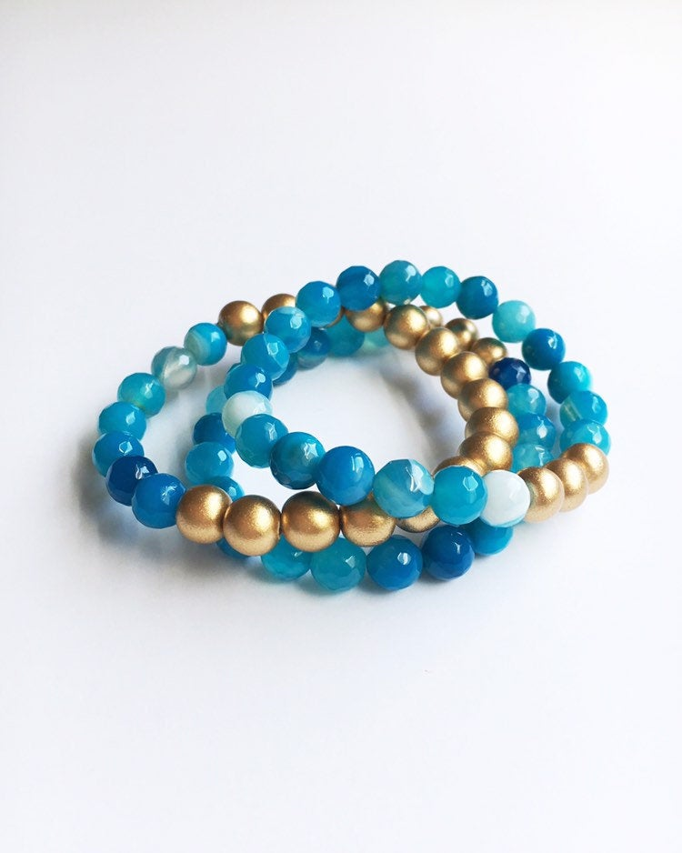 Blue Agate Beaded Bracelets