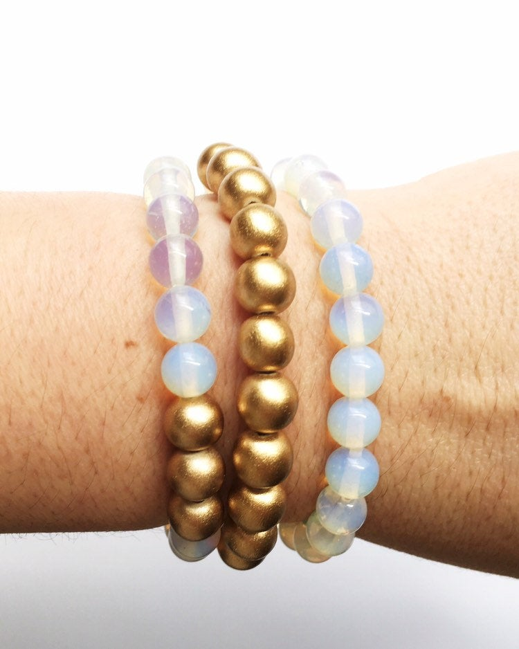 Sea Opal Stacking Bracelets