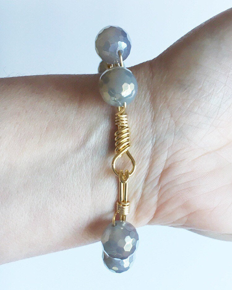 Wire Wrapped Beaded Quartz Bracelet
