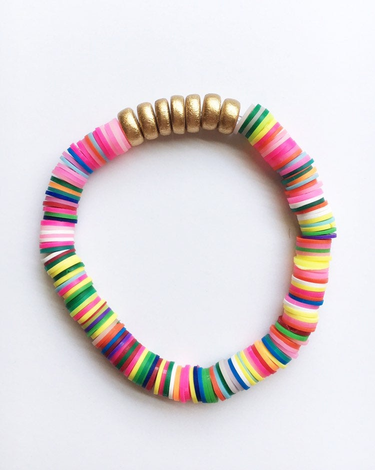 Rainbow Confetti Stacking Bracelet