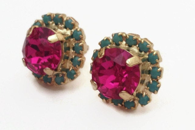 Fuchsia Pink and Turquoise Halo Stud Earrings