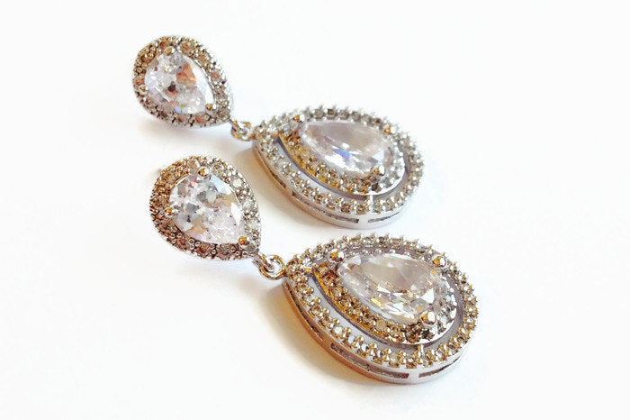 teardrop bridal earrings with halo