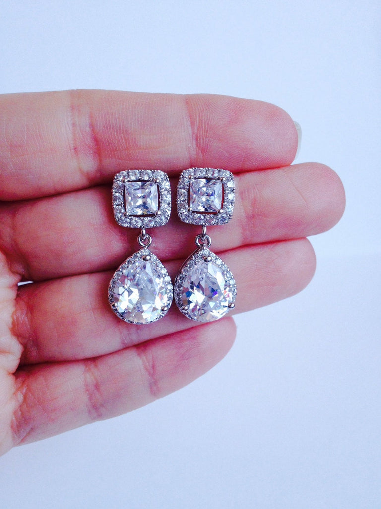 The Mary Kate Earring with Princess Cut Post