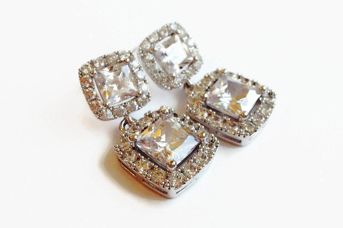The Jennifer Earrings with Princess Cut Studs