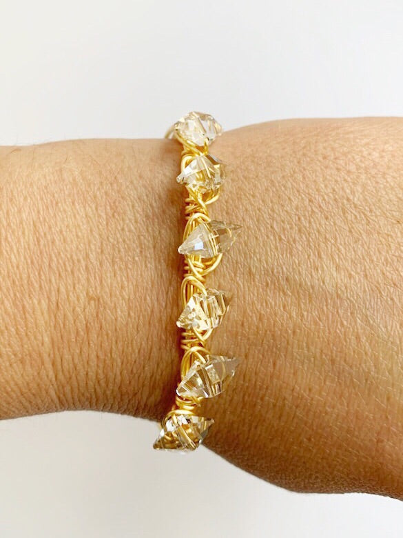 Crystal and Wire Bangle Bracelet