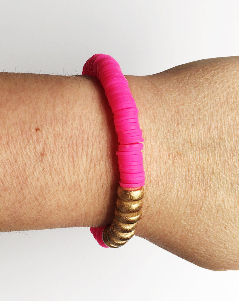 Bright Pink Confetti Stacking Bracelet