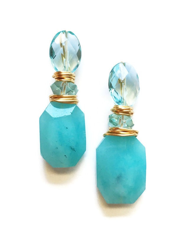 Three Stone Aqua and Sea Quartz Earrings