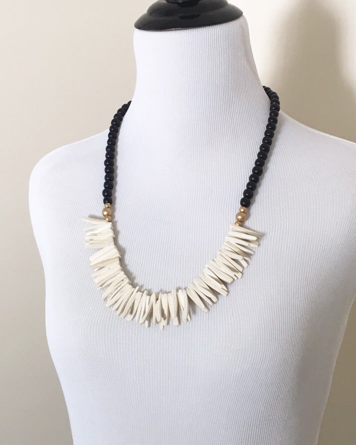 Black, Gold, and White Long Statement Beaded Necklace