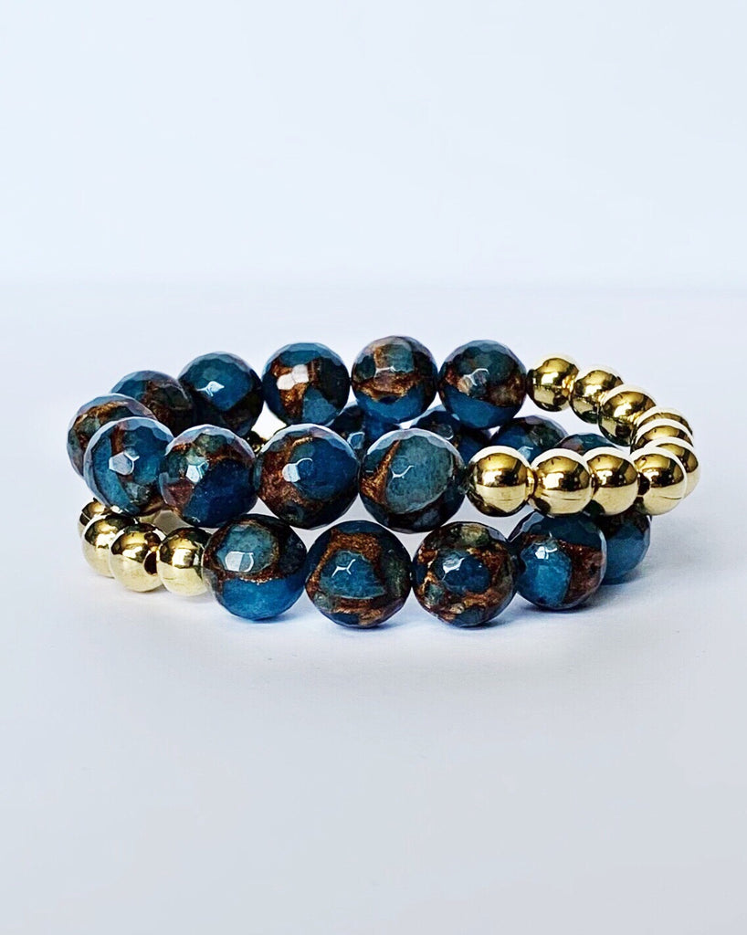Blue Mosaic Quartz and Gold Bead Bracelet