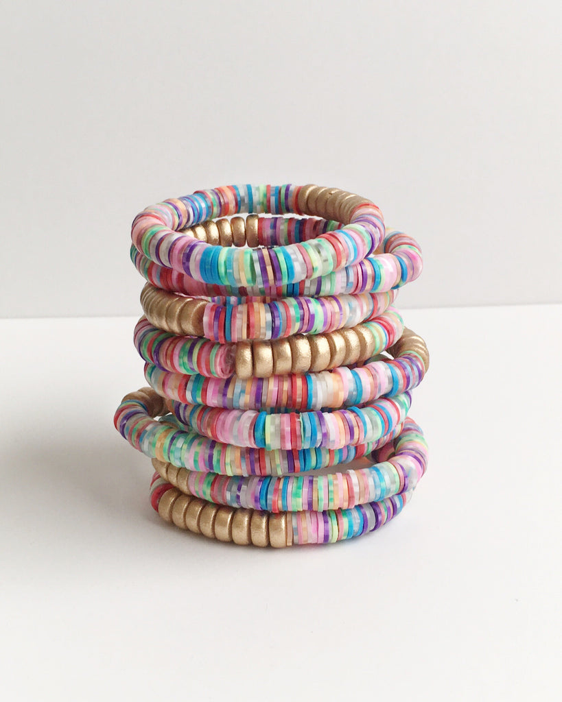 Spotted Rainbow Confetti Stacking Bracelet