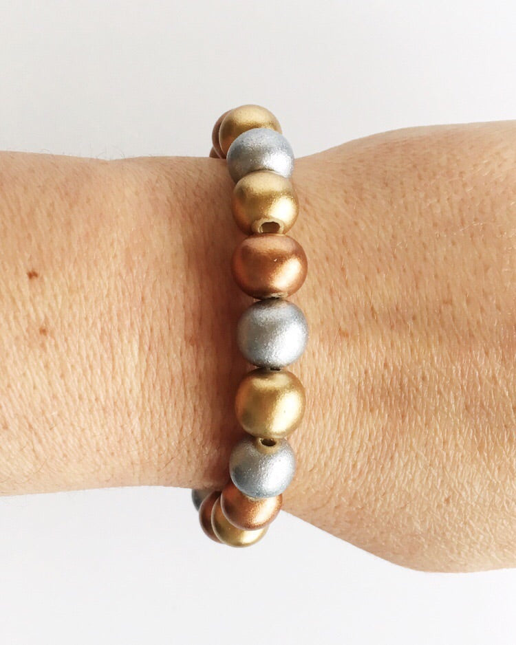 Metallic Wood Bead Bracelet