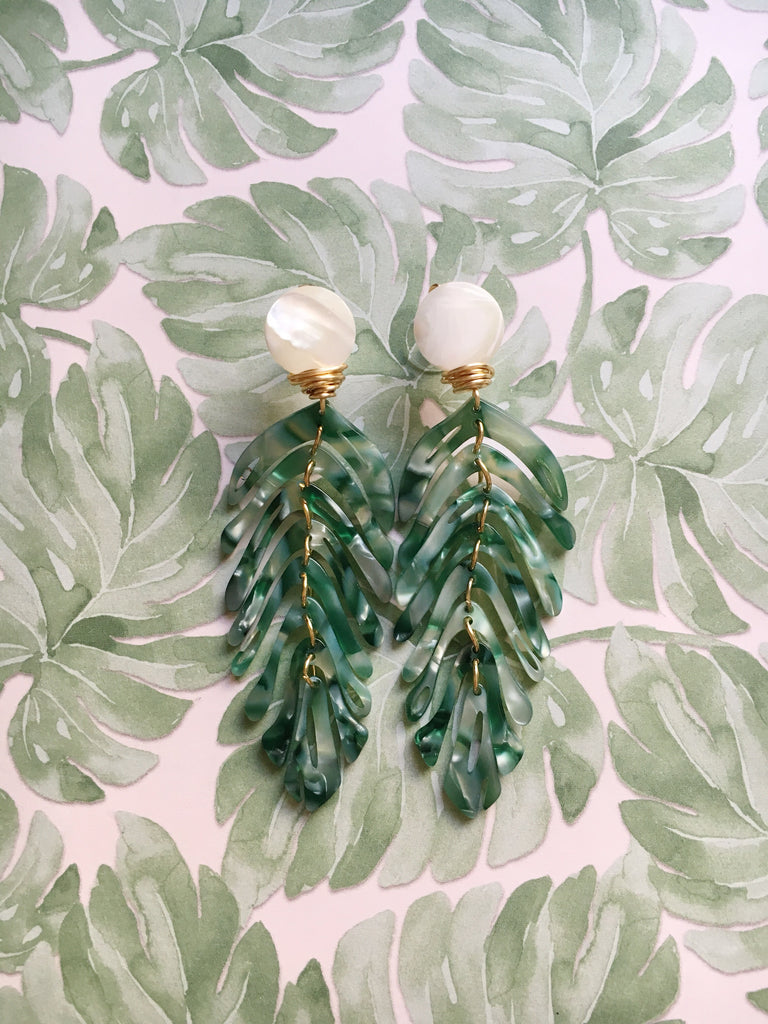 Palm Green Leaf Earrings