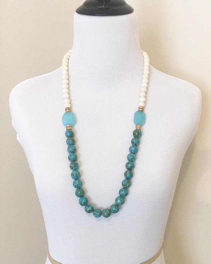 Mosaic Jade and Quartz Long Statement Necklace