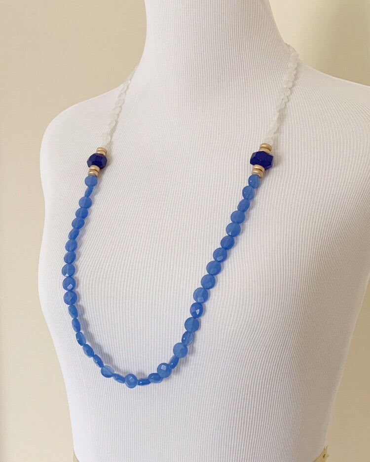 Blue Chalcedony Long Statement Necklace