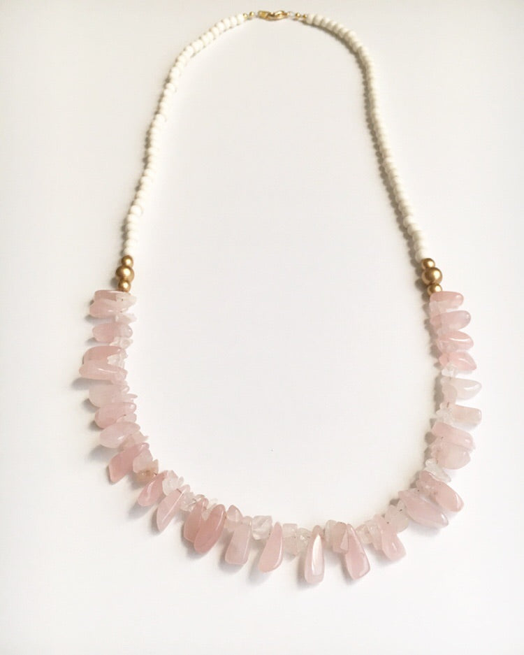 Rose Quartz Spike Long Necklace