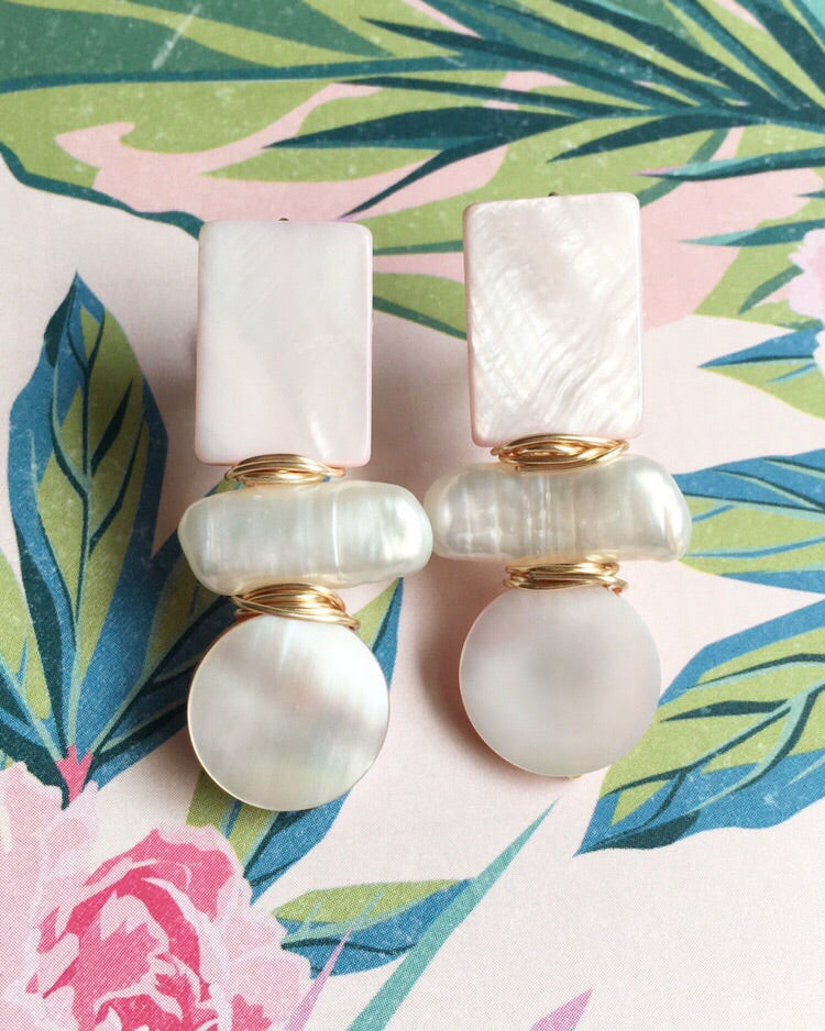 Blush Pink Mother of Pearl Earrings