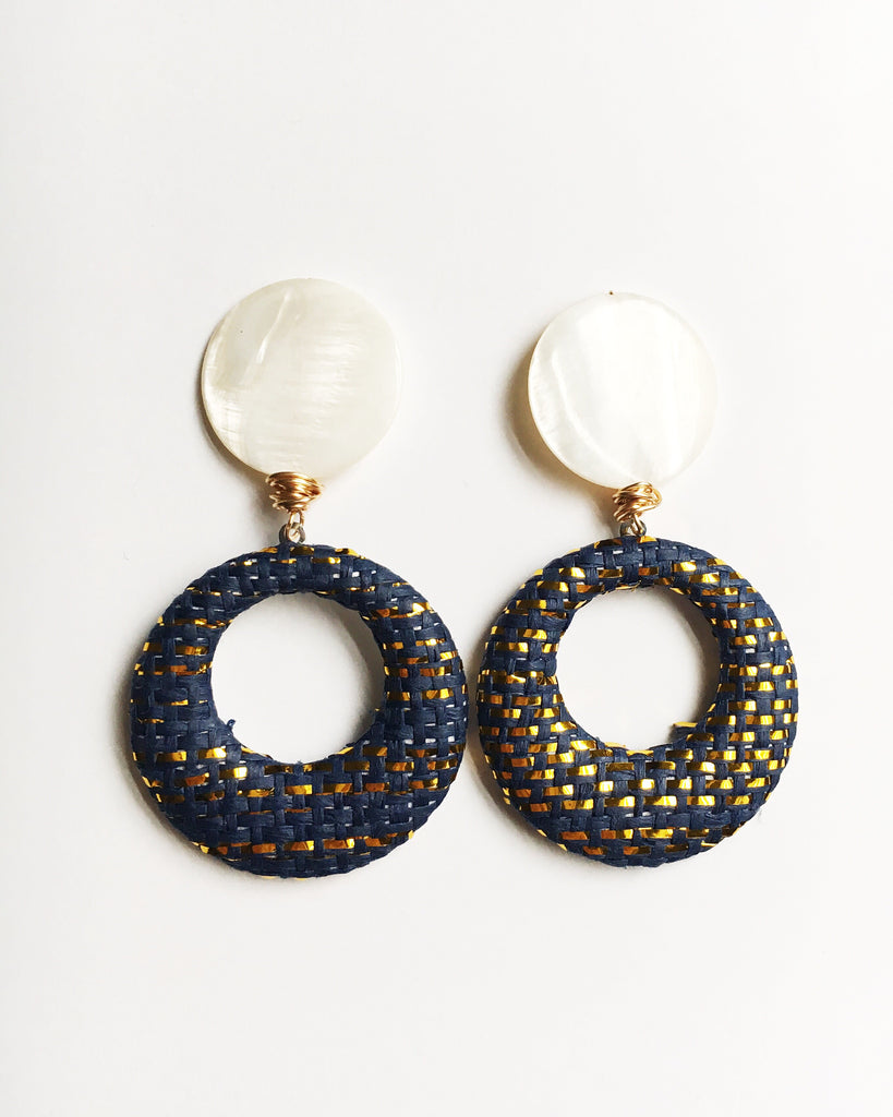 Mother of Pearl and Navy Blue Raffia Earrings