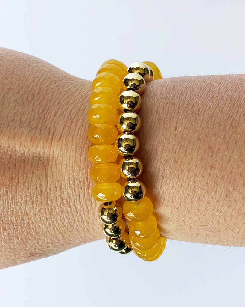 Yellow Jade and Gold Bead Bracelet