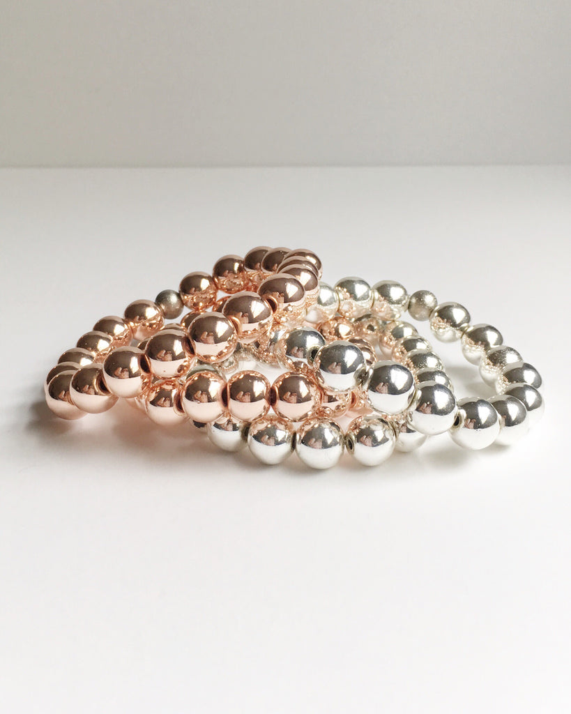 Rose Gold and Silver Hematite Beaded Bracelets
