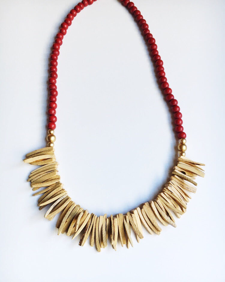 Red and Wood Long Statement Necklace